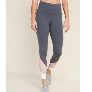 High waist 7/8 length mesh trim leggings. NWT